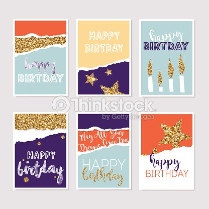 Set Of Birthday Greeting Cards With Gold Glitter Design Vector