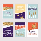 Set of birthday greeting cards with gold glitter design. Vector illustration.