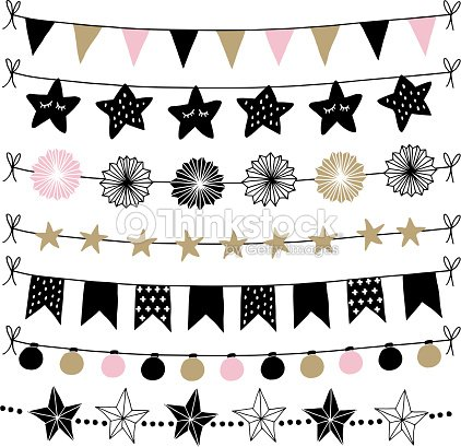 set of birthday new year decorative borders strings garlands brushes party decoration with christmas balls baubles light bulbs bunting flags and