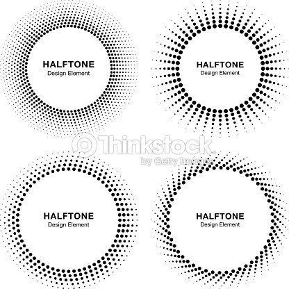 Set Of Black Abstract Halftone Circle Frame Logo Vector Illustration ...