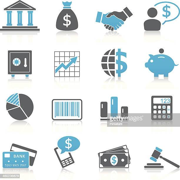 Set of black and blue finance icons
