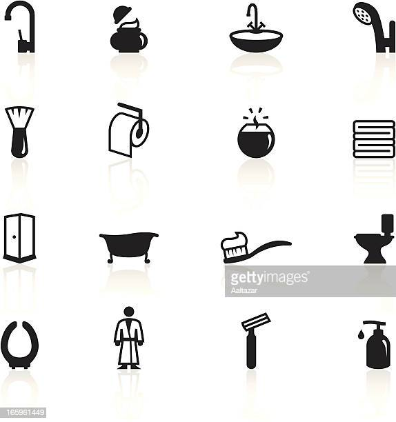 Set of black and white bathroom icons