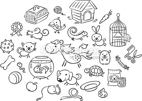 Set Of Black And White Cartoon Pet Animals With Accessories Stock