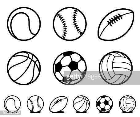 Set of black and white cartoon sports ball icons : Vector Art
