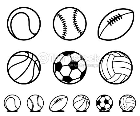 Set of black and white cartoon sports ball icons : arte vettoriale