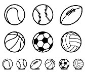 Set of six different black and white cartoon sports ball icons with accompanying line drawing variations with shadow for use as design elements - vector illustration