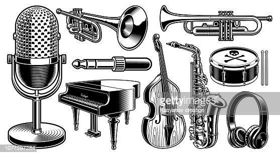 Conjunto de ilustraciones en blanco y negro de instrumentos musicales : arte vectorial