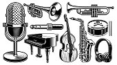 Set of black and white illustrations of musical instruments isolated on the white background.