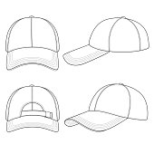 28456d4a3045d Set of black and white illustrations with a baseball cap. Isolated vector  objects on white