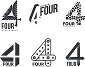 Set of black and white number four logo templates, vector illustrations isolated on white background. Black and white graphic number four logo templates - technical, organic, abstract