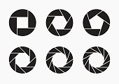 Set of black camera lens aperture icons isolated on light background. Camera objective icon. Shutter icon. Focus icon. Zoom objective for photographer. Simple diagrams set. Vector illustration.