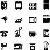 Set of black domestic appliances icons vector illustration design elements.File contain EPS8 and large JPEG