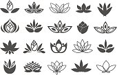 Set of black flowers design elements. Plant, blossom and sprout growing icons flat line design vector.