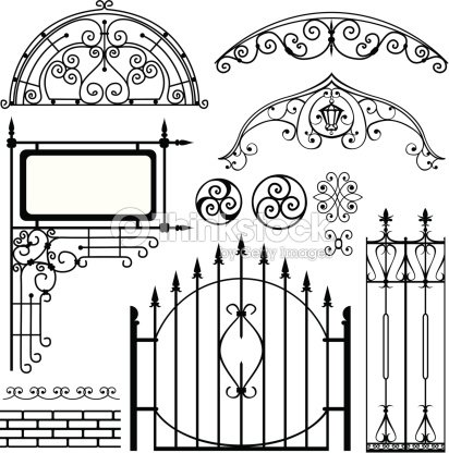 Set Of Black Forged Metal Gates And Other Elements Vector