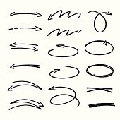 set of black hand drawn arrows signs and highlighting elements - vector illustration