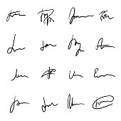 Set of unique black hand drawn sprawling signatures. Authentic-looking vector handwritten autographs collection for business documentation design
