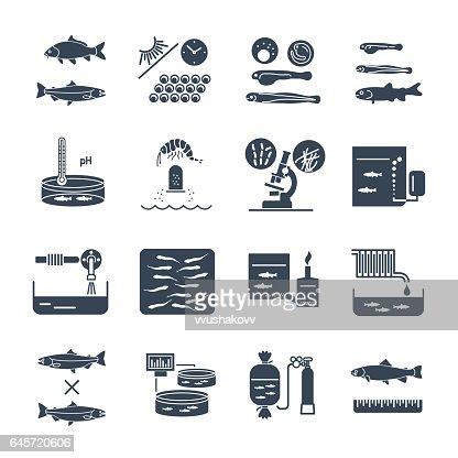 set of black icons aquaculture, fish farming : stock vector