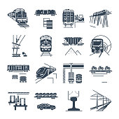 set of black icons freight and passenger rail transport, railway, train, terminal, locomotive