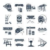 set of black icons freight and passenger rail transport, railway, train, terminal, locomotive