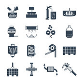 set of black icons industrial production, fabrication process, factory, technology, equipment