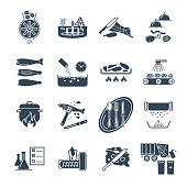 set of black icons restaurant, cafe, kitchen production process