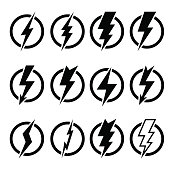 Set of black lightning bolts and signs of different shapes inscribed in black circles and isolated on white background. Can be used for logos, icons, signs, print products, web decor or other design.