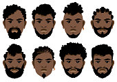Set of black men's faces with different hairstyles, beards and mustache .  Vector illustration.