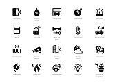 Set of black solid smart home icons isolated on light background. Contains such icons Smart lock, Thermometer, Garage door, Air conditioner, Automatic irrigation and more.