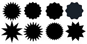 Set of blackr starburst stamps on white background. Badges and labels various shapes.  Vector illustration