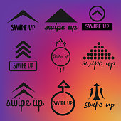 Set of black swipe up icons.Beautiful calligraphy text,special design.Vector.