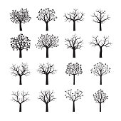 Set of Black Trees. Vector illustration. Nature and garden.