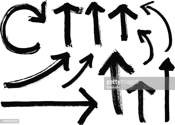 Set of Black Vector Grunge Arrows