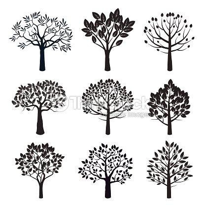 ensemble de vecteur de plantes et arbres noirs clipart vectoriel thinkstock. Black Bedroom Furniture Sets. Home Design Ideas
