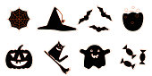 Set of black with orange outline halloween icons. Orange outline funny halloween icons. Cartoon style icons ghost, pumpkin, broom, hat and cat