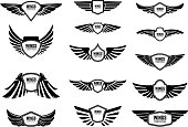 Set of blank emblems with wings. Design elements for emblem, sign,label. Vector illustration