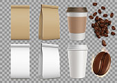 Set of blank package with coffee beans and paper mugs. Isolated mock-up on a transparent background. Stock vector illustration.