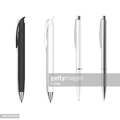 Set of blank pens isolated on white background. Vector. : stock vector