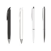 Set of blank pens isolated on white background. Vector.