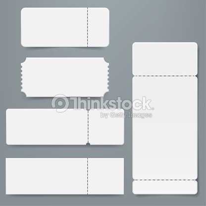 Set Of Blank Ticket Mockup Template Realistic White Paper Coupon
