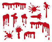 Set of blood drips for halloween design. Vector illustration.