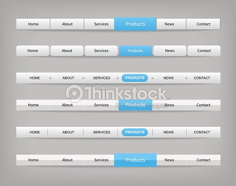 Set Of Blue And Gray Various Navigation Bar Templates
