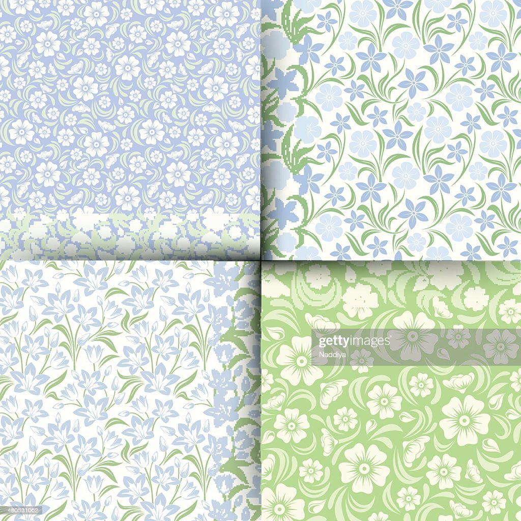 Set of blue and green seamless floral patterns. Vector illustration. : Vector Art