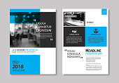 Set of blue cover and layout brochure, flyer, poster, annual report, design templates. Use for business book, magazine, presentation, portfolio, corporate background.
