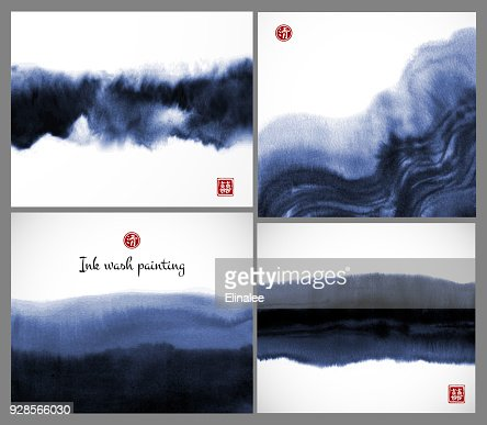 Set of blue ink wash painting textures on white background. Vector illustration. Contains hieroglyphs - double luck, clarity. : stock vector
