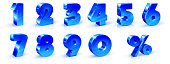 Set of blue numbers 1, 2, 3, 4, 5, 6, 7, 8, 9, 0 and percent sign. 3d illustration. Suitable for use on advertising banners posters flyers promotional items Seasonal discounts Black Friday the interes