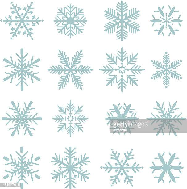 set of blue snowflakes icons
