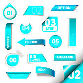 Set of blue vector progress step icons, version, labels, stamps, stickers, corners, tags - vector
