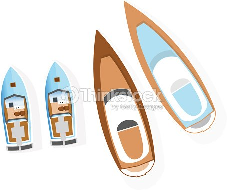 Set of boats from above. Water type transport and transportation