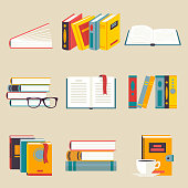 Set of books. Simple and minimalist style. It can be used as an icon or design element