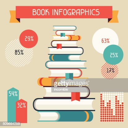 Set Of Books Infographic In Flat Design Style Vector Art | Getty ...